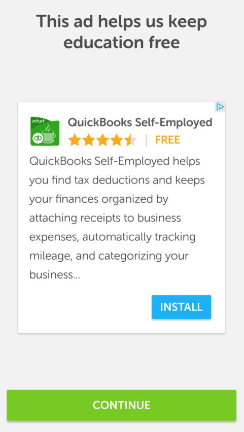 Advertising on Duolingo
